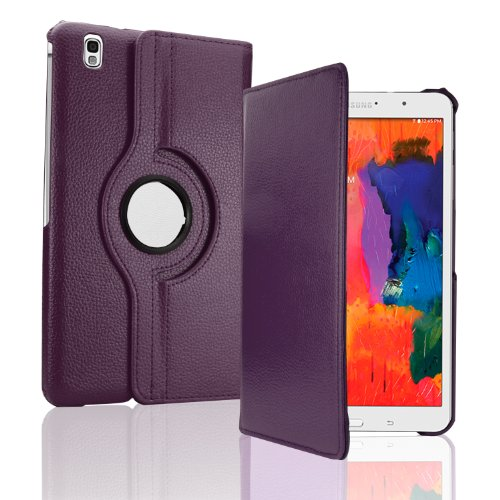 """SAVFY« Purple Samsung Galaxy Tab PRO 8.4 Case for Tab Pro 8.4"""" ( SM-T320 )360 Degree Rotating PU Leather Smart Case Cover Stand for Galaxy Tab PRO 8.4 with Built-in Magnet for Sleep & wake Feature + Screen Protector Film + Stylus Touch Pen"""