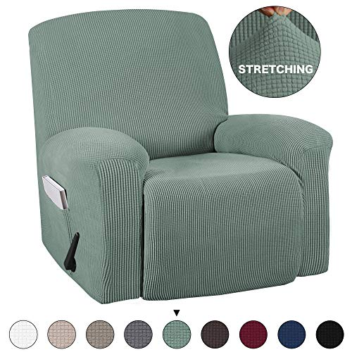 Turquoize Stretch Recliner Slipcover with Pockets 1-Pieces Couch Cover Recliner Chair Furniture Cover Highly Fitness for Sturdy Fabric Slipcover, Pets, Kids, Children, Dog, Cat (Recliner, Cyan) ()