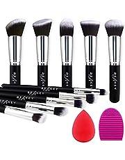 BEAKEY Makeup Brush Set Premium Synthetic Kabuki Foundation Face Powder Blush Eyeshadow Brushes Makeup Brush Kit with Makeup Sponge and Brush Egg (10+2pcs,Black/Silver)