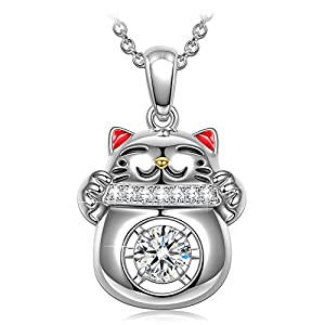 "DANCING HEART ""Lucky Cat"" 925 Sterling Silver Necklace, 5A CZ Pendant Necklace Fine Jewelry with Enamel Craft – The diamond keeps moving as if it is dancing, gift box packaged!"
