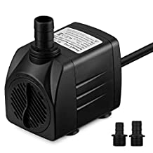 VicTsing 400 GPH Water Pumps Submersible Pump,[New Version] Water Pumps For Fish Aquarium, Fountains, Spout and Hydroponic Systems(25W, 5.9ft Power Cord, Two Nozzles)