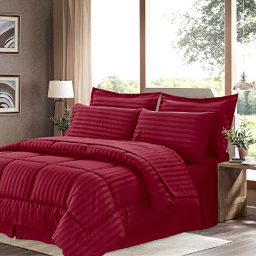 Sweet Home Collection 8 Piece Comforter Set Bag Stripe Design, Bed Fitted, 1 Flat Sheet, 2 Pillowcases, 2 Shams, King, Dobby Burgundy (Cotton A Brushed In Bag Bed)