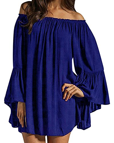 ZANZEA Women's Sexy Off Shoulder Chiffon Boho Ruffle Sleeve Blouse Mini Dress Royal Blue M -