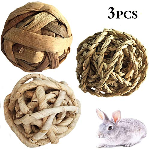 Guinea Pigs Chew Play Toys Ball,Small Animal Funny Activity Toy, Woven Grass Ball for Pets,Natural Rabbit Exercise Ball for Bunnies,Chinchilla,Cats, Gerbils, mice,Kittens,Holland lop,Hamster (3 Packs from kathson
