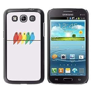 Colores Pájaros Pintura Abedul minimalista - Metal de aluminio y de plástico duro Caja del teléfono - Negro - Samsung Galaxy Win I8550