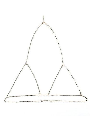 b657d96017ceb Amazon.com  Udobuy Sexy Rhinestone Bra Body Necklace Chain Bikini Beach  Crossover Harness Necklace Waist Belly Body Chain Jewelry (Gold)  Jewelry