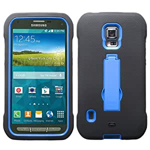 Black Blue Kickstand Hybrid Gel Armor Protector Case Cover for Samsung Galaxy S5 Active G870 + Keychain Tool