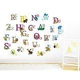 Jungle animal alphabet wall decal sticker A-Z educational kid's wall sticker removable and reusable nursery wall art decor