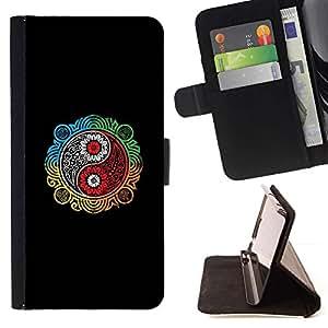Momo Phone Case / Flip Funda de Cuero Case Cover - Colorido Ying Yang;;;;;;;; - Sony Xperia Z5 5.2 Inch (Not for Z5 Premium 5.5 Inch)
