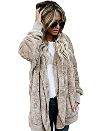 Joddie Haha Fashion Faux Fur Jacket Teddy Bear Coat Women Open Stitch Hooded Coat Female Autumn