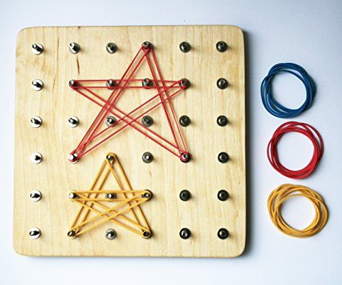 Wooden Pin board Geoboard with 36 pins and set of rubber bands (Geoboard Set)