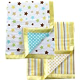 Luvable Friends 2 Count Flannel Blanket with Satin Trim, Yellow, Baby & Kids Zone