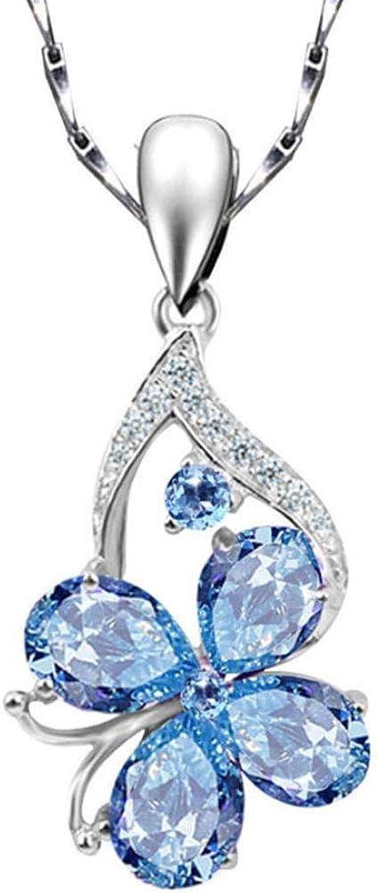 zbzmm Collarcollares Pendientes De Diamantes De Piedras Preciosas De Aguamarina para Mujeres Azul Cristal Gargantilla De Oro Blanco Joyas De Color Plata Bijoux Bague Regalos