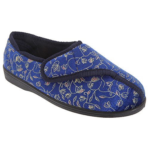 Navy Zedzzz Janice blue Womens Floral Ladies Fastening Slippers Touch w11r0xO7qZ