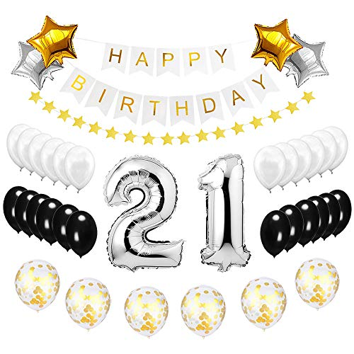 Best Happy to 21st Birthday Balloons Set - High Quality Birthday Theme Decorations for 21 Years Old Party Supplies Silver Black -