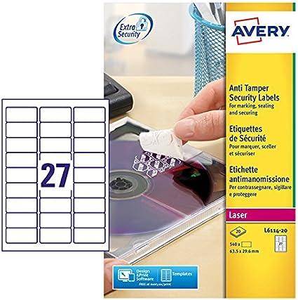 Avery España L6114-20 - Pack de 20 folios de etiquetas anti ...