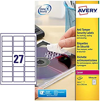 Amazon.com: Avery L6114-20 - Etiquetas adhesivas ...