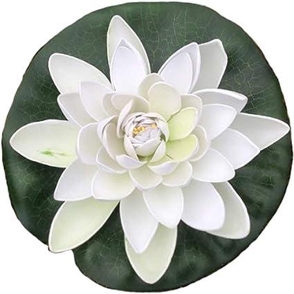GMMH Blanco flor de nenúfar 17 cm grande artificial Decoración de ...
