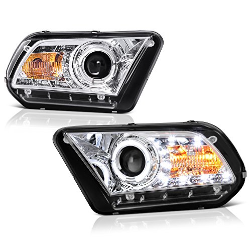 Strip Assembly - [For 2010-2012 Ford Mustang Halogen Model] LED Strip Halo Ring Chrome Projector Headlight Headlamp Assembly, Sequential Turn Signal, Driver & Passenger Side