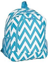 Aqua Teal Turquoise Chevron Print Backpack (16-inch)
