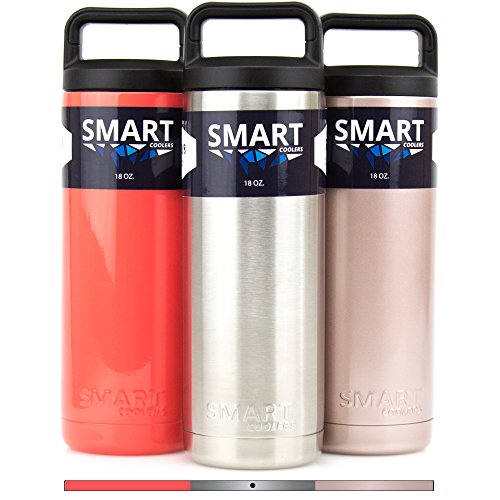Premium Double Wall Insulated Stainless Steel Bottle Smart Coolers - 100% Leak Proof - Keep Coffee and Ice Tea - Stainless Steel