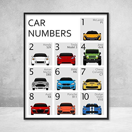 Car Nursery 123 Number Poster Print Wall Art for Babies and Kids 10 Vehicles Covering Numbers 1 to 10