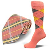 Spotlight Hosiery brand Men's Dress Socks &Necktie Set Peach/Charcoal Grey/Yellow