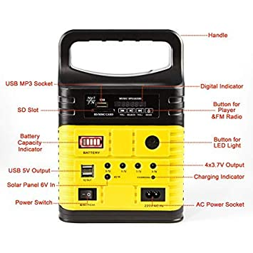 UPEOR Solar Generator Lighting System Portable Solar Power Generator Kit for Emergency Power Supply,Home /& Outdoor Camping,Including MP3/&FM Radio,Solar Panel,3 Sets LED Lights Yellow
