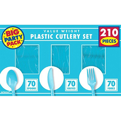 Amscan Reusable Big Party Pack Value Window Box Cutlery Set, Carribean Blue, Plastic , 6'' x 11'', Pack of 210