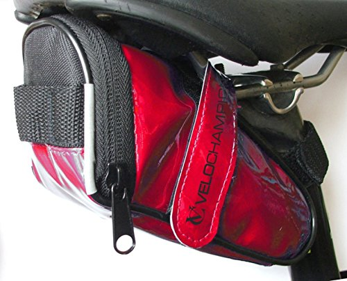 VeloChampion Slick Bike Seat Pack Black, Blue, Red or White Saddle Bag