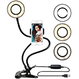 Ring Light with Cell Phone Holder for Live, Dimmable [3-Light Mode][9-Level Brightness] Clamp on Gooseneck Mount with Selfie Ring Light for Youtube, Facebook, iphone 7,6/plus,Samsung,HTC,HUAWEI