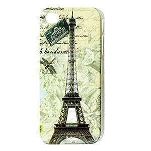 Libélula y de la torre Eiffel del caso de la cubierta trasera dura colorida para el 4 iPhone 4 4G 4S 4GS