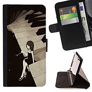 Devil Case- Estilo PU billetera de cuero del soporte del tir¨®n [solapa de cierre] Cubierta FOR Sony Xperia M2 s50h Aqua- Piano Girl Patten