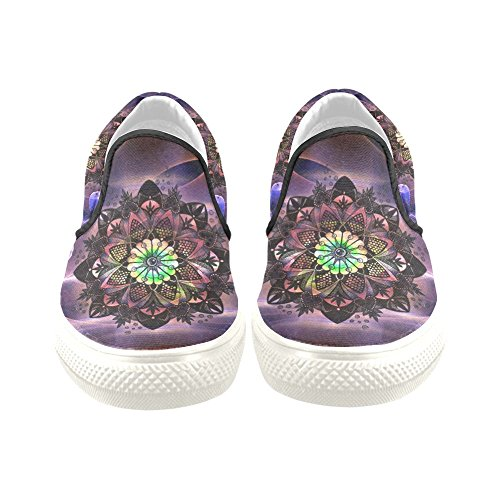 D-story Custom Sneaker Mandala Abstract_flower Donne Insolite Scarpe Di Tela Slip-on (modello 019)