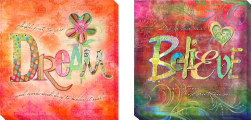 Dream & Believe by Connie Haley 2-pc Gallery-Wrapped Custom Canvas Giclee Set (Ready-to-Hang) (Wrap Haley Double)