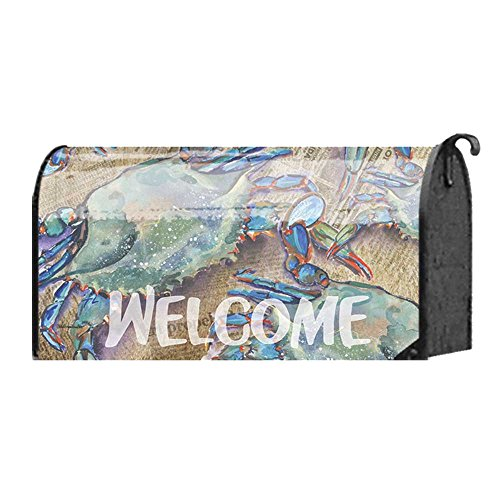 [Welcome Blue Crabs on Newspaper 22 x 18 Standard Size Mailbox Cover] (Welcome Crab)