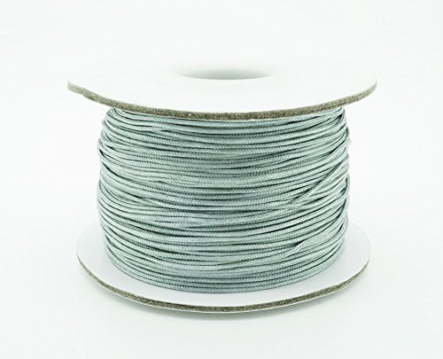 GREY 0.8mm Chinese Knot Nylon Braided Cord Shamballa Macrame Beading Kumihimo String (50yards Spool)
