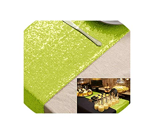 Key Lime Bedskirt - See Something Sequin Table Runner Blush 12x72in for Event/Party/Banquet/Christmas Weddings Decoration,Lime Green,14inch x 90inch