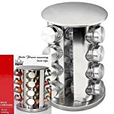 Adorox Steel Spice Rack - Round or Square Revolving Stainless Space Saving Kitchen Storage Organizer for Seasoning Dried Herbs (Round 16 Spice Jars)