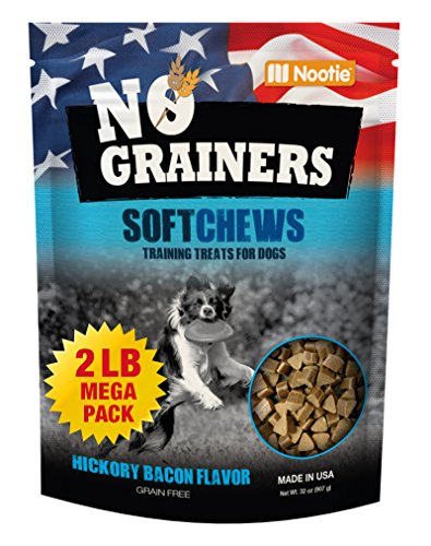 Grain Free Dog Treats and Dog Chews by Nootie No-Grainers - 2 LB Bag Hickory Bacon Package of Healthy Dog Jerky - All Natural Dog Treats Made in USA Only - 2lbs of Dog Snacks and Dog Food,pack of 2