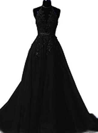 tutu.vivi Womens Open Back Halter Prom Dresses 2018 Lace Long Evening Gowns Black Size2