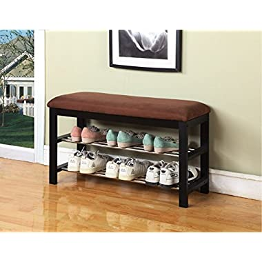 Legacy Decor Black and Brown Wood Shoe Bench with Two Metal Racks and Ultra Suede Seat Cushion