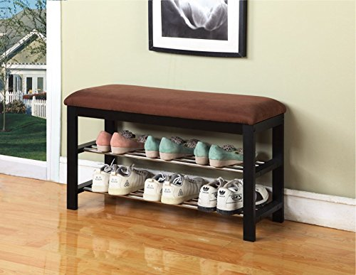 Ultra Suede Organizer - Legacy Decor Black and Brown Wood Shoe Bench with Two Metal Racks and Ultra Suede Seat Cushion
