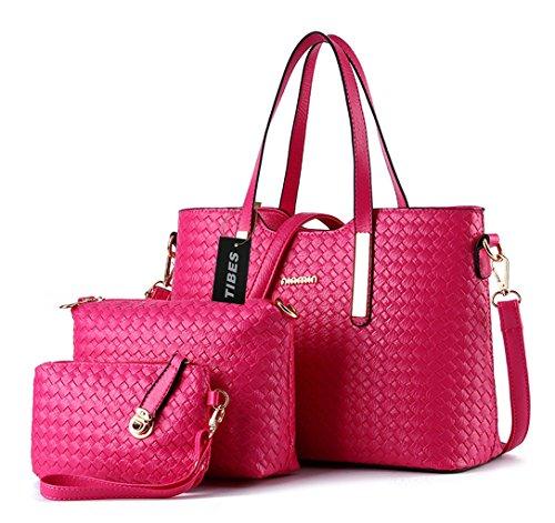 Tibes Fashion Pu Leather Handbag+Shoulder Bag+Purse 3pcs Bag Rose Pink (Cheap Designer Bags)