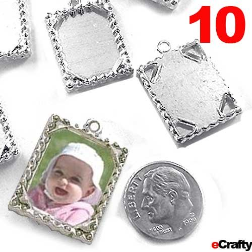 Photo Frame Charms Ribbon Squares Ant Silver 10pc DIY Wine Charms Photo Jewelry