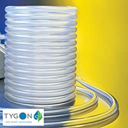 Tygon Non-DEHP Laboratory, Food & Beverage and Vacuum Plastic Tubing, Clear, 5mm ID x 8mm OD, 15m Length