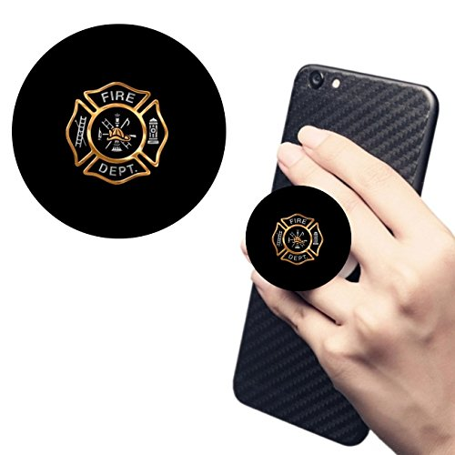 Cell Phone Holder.Pop Expanding Stand and Grip Socket Multi Function Holder Mount for Smart Phone and Tablet Firefighter Badge Gold(Black)