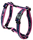 Rogz Fancy Dress Extra Large 1-Inch Armed Response Adjustable Dog H-Harness, Denim Rose Design, My Pet Supplies