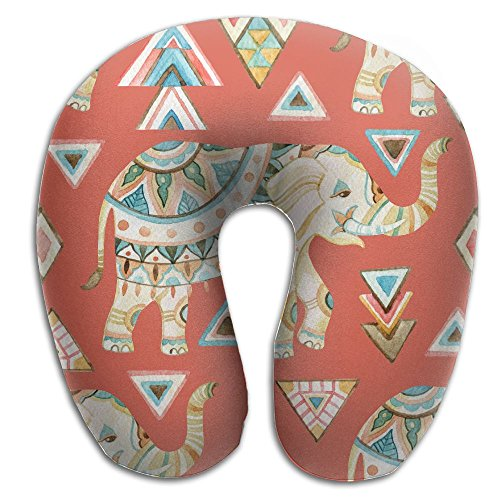 Lesi Yes U Shaped Neck Pillow Memory Foam Soft Indian Ornate Elephant Watercolor Indoor Outdoor Travel Airplane Car Office School -