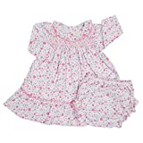 Kissy Kissy Baby Girls Fall Blossoms Print Dress W/ Smocking And Diaper Cover-0-3mos